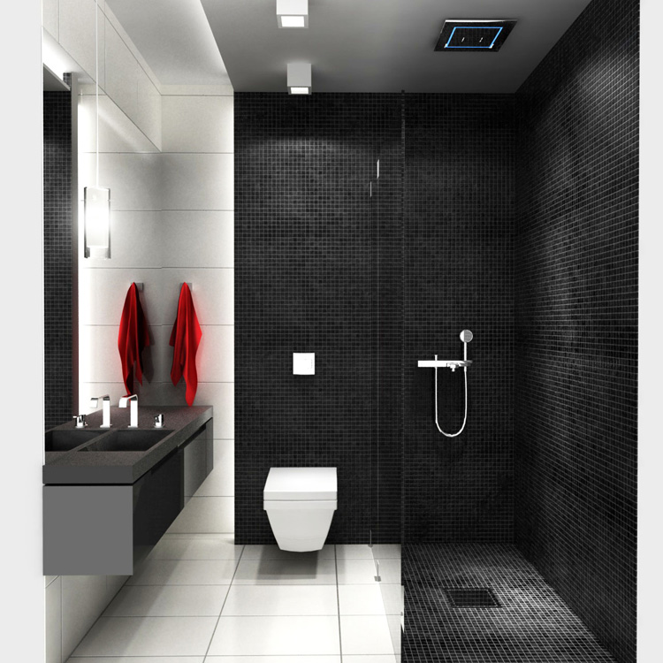 Dusche Begehbar Gemauert : Black and White Small Bathroom Ideas